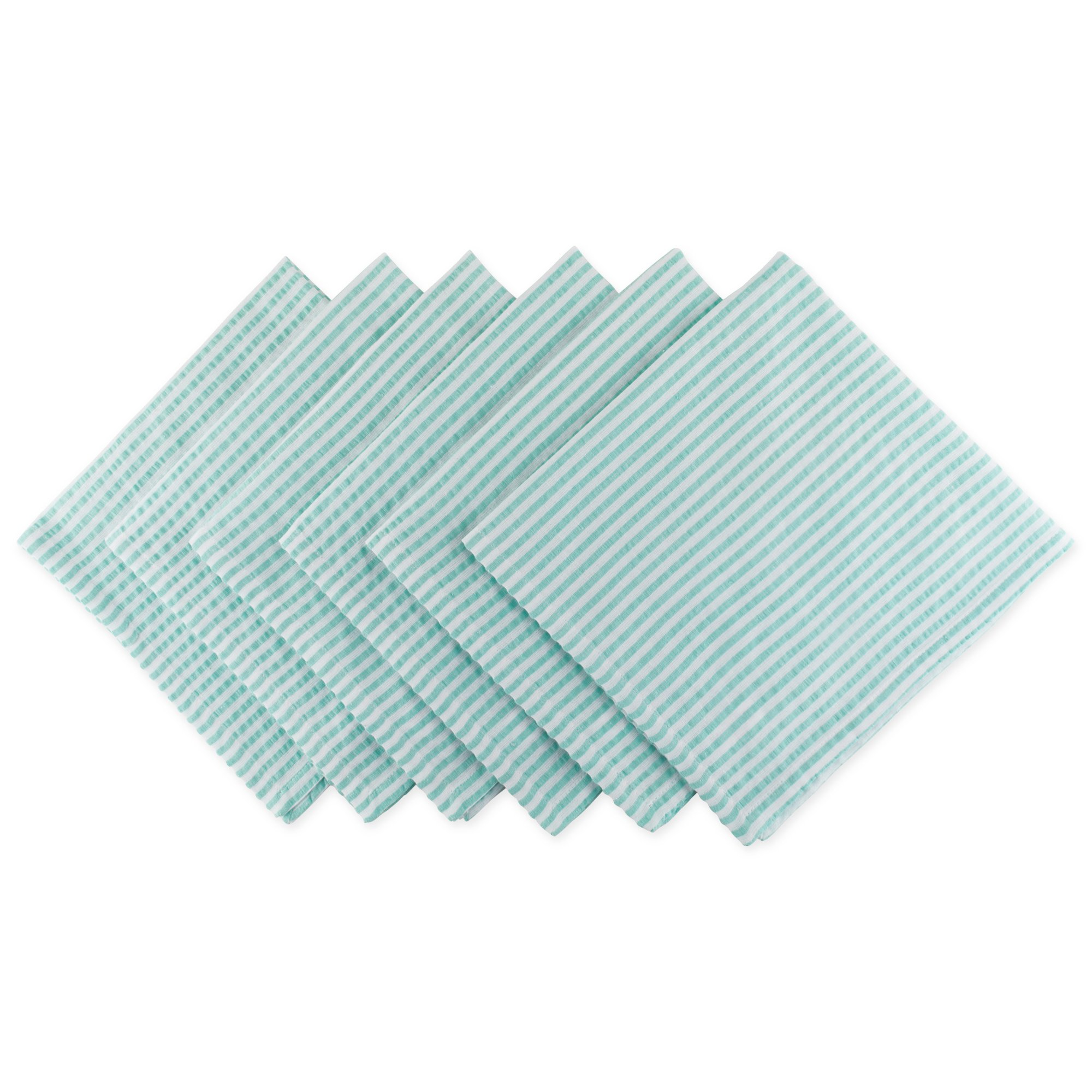 DII Seersucker Striped for Brunch, Weddings, Showers, Parties and Everyday Use, Napkin, Aqua Blue