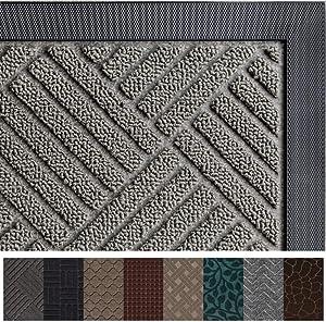 Gorilla Grip Original Durable Rubber Door Mat, 47 x 35, Heavy Duty Doormat for Indoor Outdoor, Waterproof, Easy Clean, Low-Profile Rug Mats for Entry, Patio, High Traffic Areas, Gray Diamond