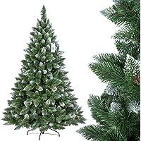 FairyTrees Arbre Sapin Artificiel de Noêl Pin, Naturel Blanc Enneigé, Matière PVC, Pommes de Pin Vraies, Socle en Métal, FT04