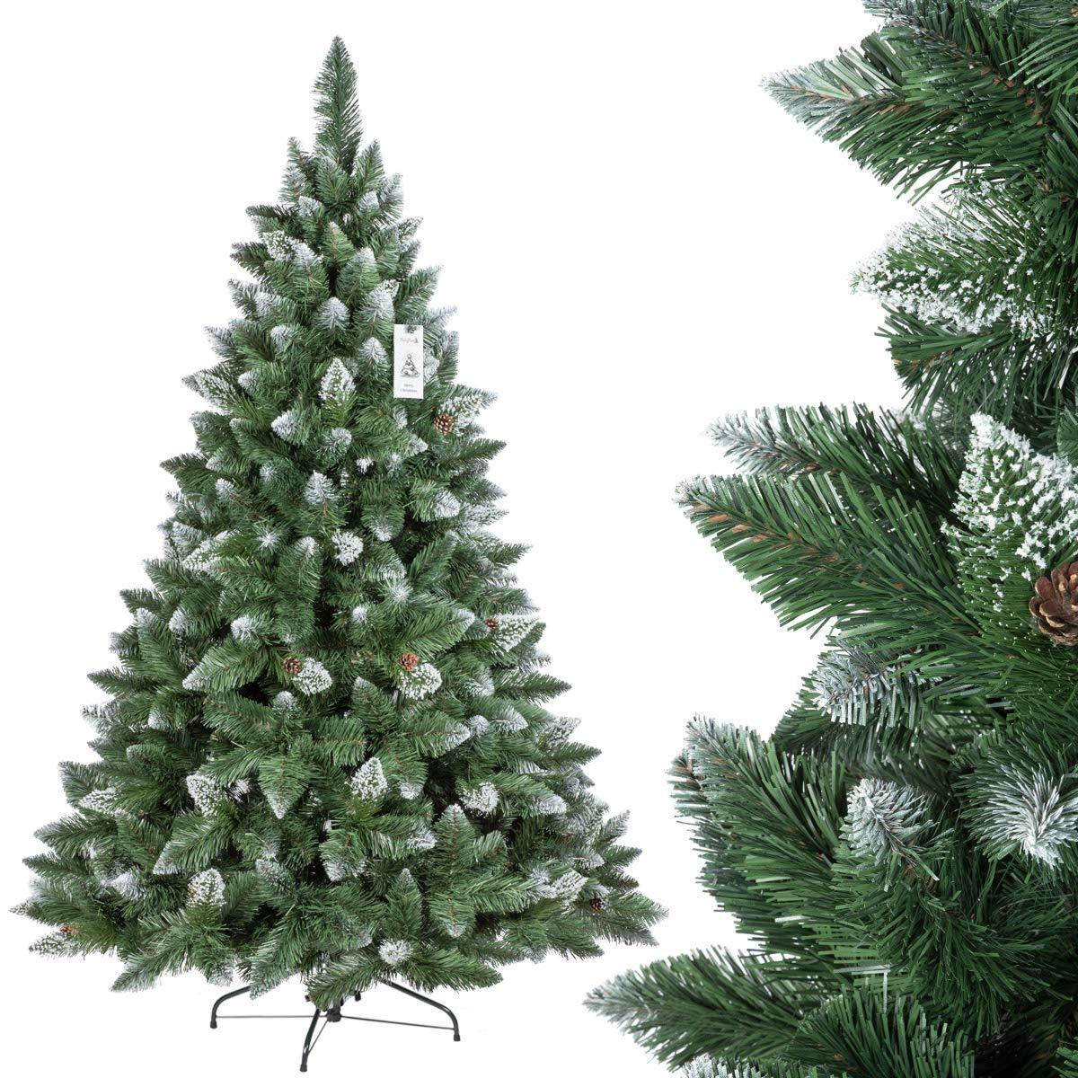 FairyTrees Árbol de Navidad artificial Pino, natural de blanco ...