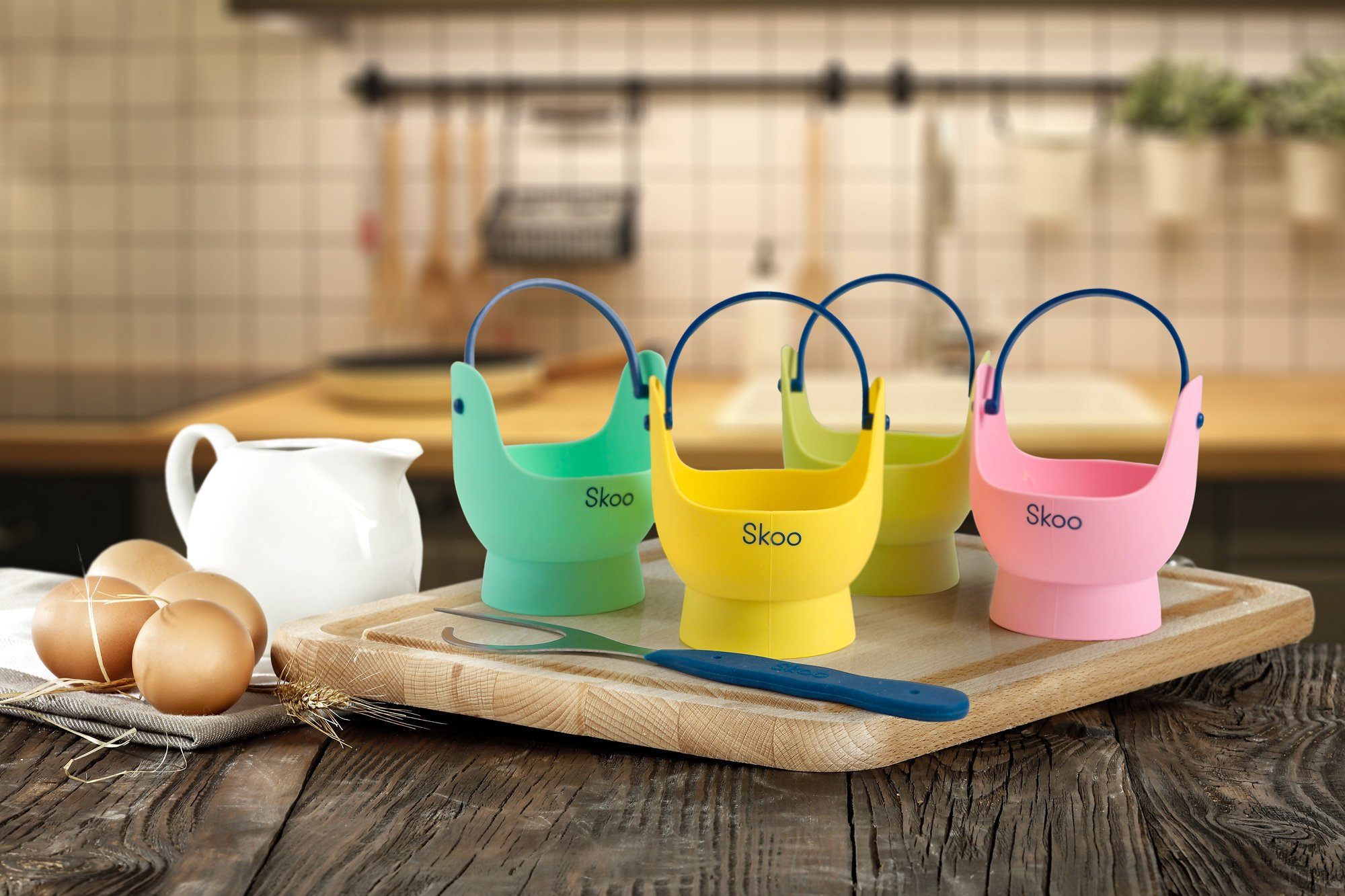 Silicone Egg Poacher Cups + Free Fork - Egg Cooker Set - Perfect Poached Egg Maker - For Stove Top, Microwave and Instant Pot by Skoo (Image #3)
