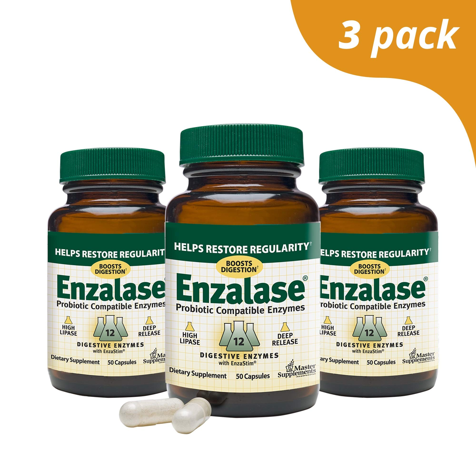 Master Supplements Enzalase (3 Pack) - 50 Vegan Capsules - Probiotic Compatible Enzyme Supplement, Provides Digestive Boost, Gas and Bloating Relief - Gluten Free - 50 Servings