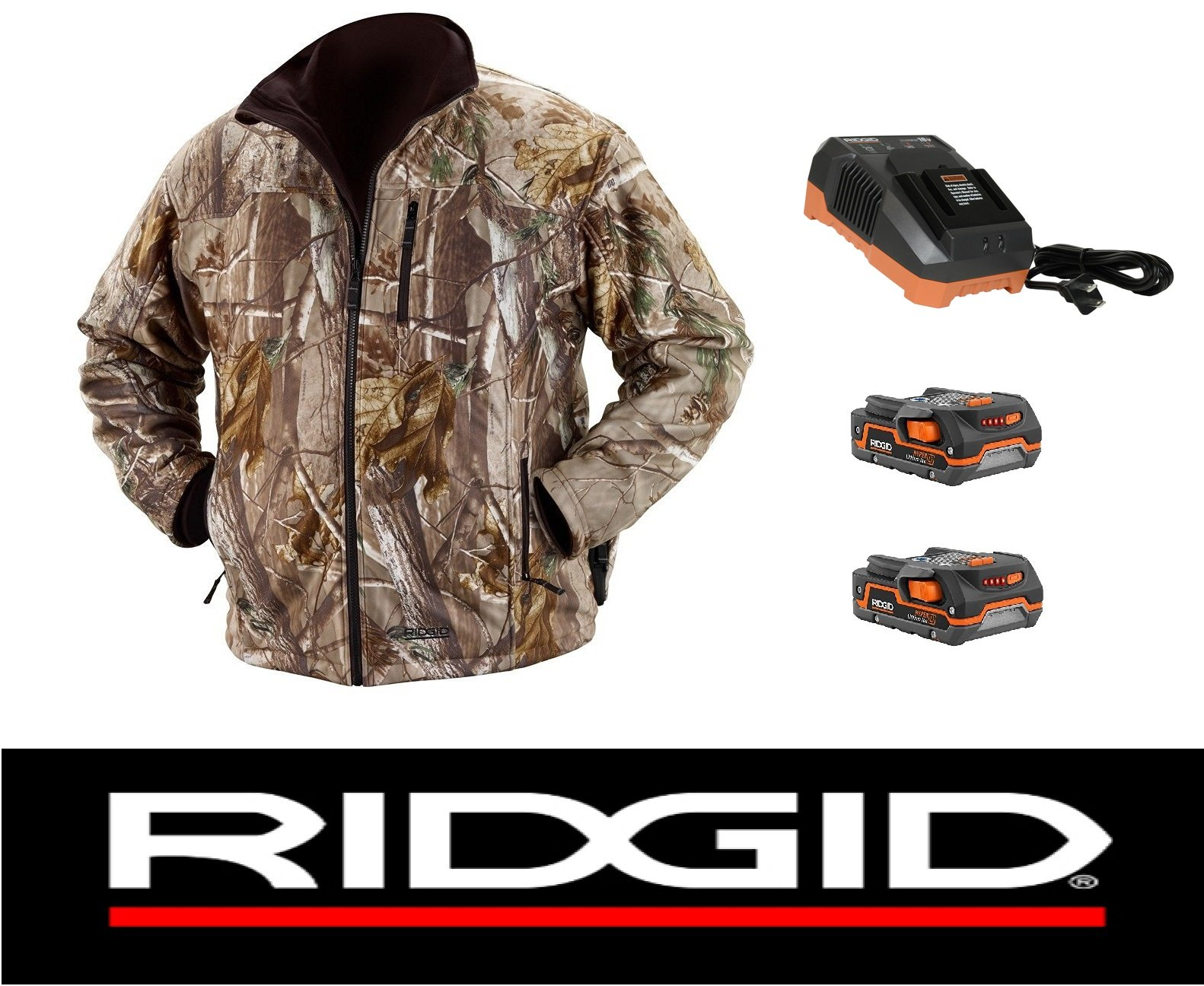 Ridgid 18 Volt Camouflage Heated Jacket Coat with (2) Batteries & Charger (XL)