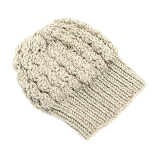 a3e0568d08f Magic Needles Winter Woolen Cap (Handmade Womens Slouchy Shroom Beanie -  Beige  Amazon.in  Clothing   Accessories