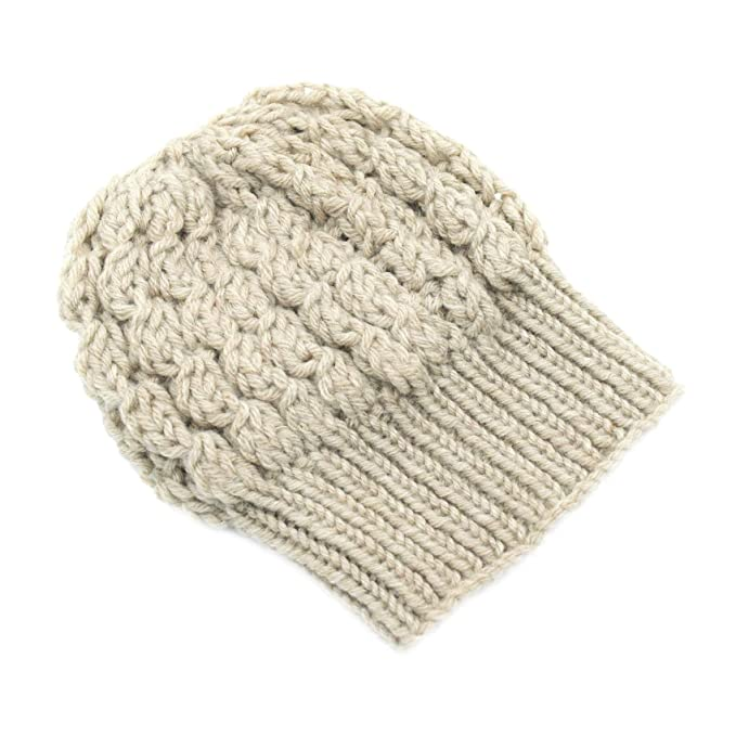 4d113f94104 Magic Needles Winter Woolen Cap (Handmade Womens Slouchy Shroom Beanie -  Beige  Amazon.in  Clothing   Accessories