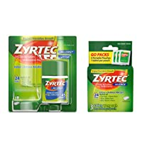 Zyrtec 24 Hour Allergy Relief Tablets, Bundle with 1 x 45ct and 1 x 3ct Travel Pack