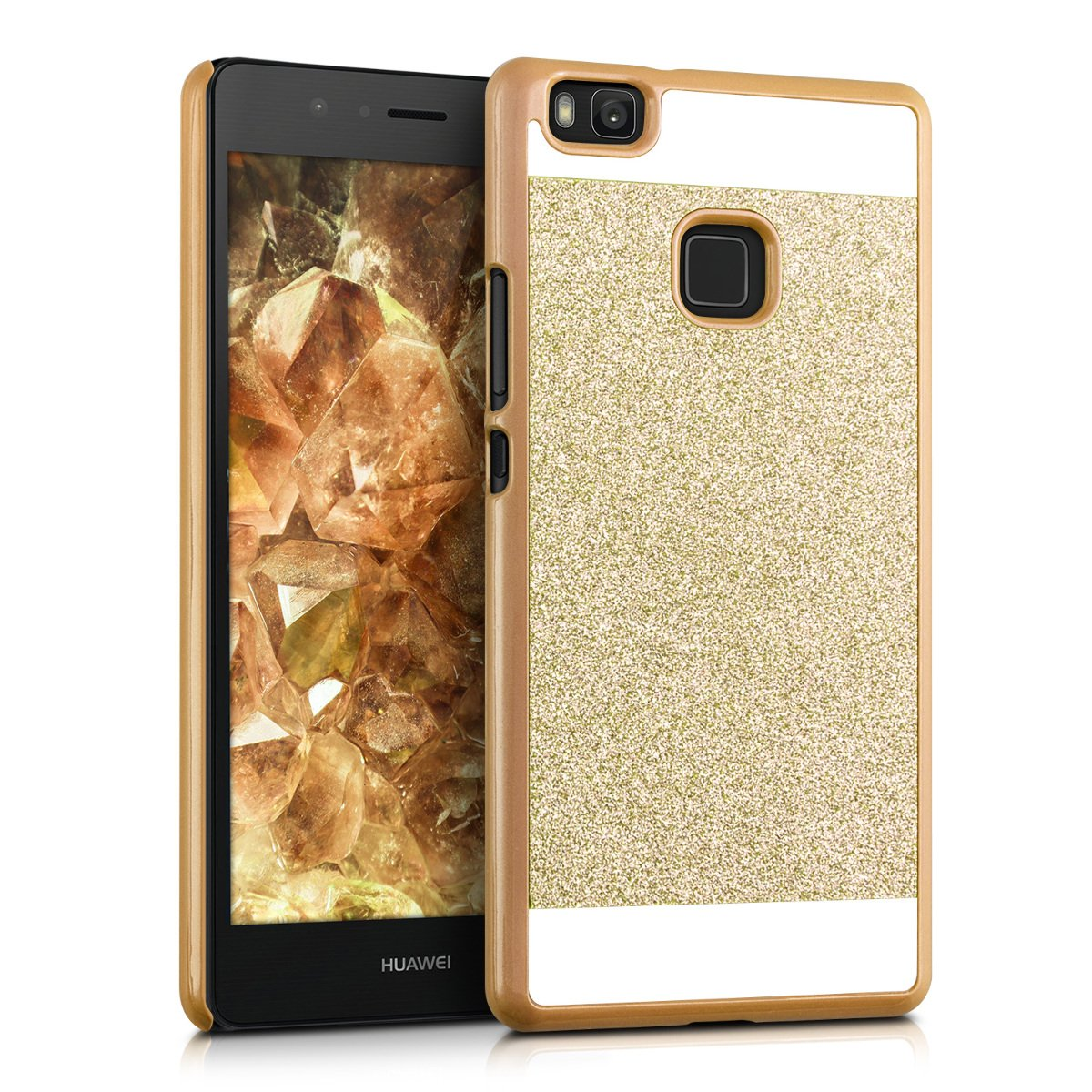 kwmobile Case for Huawei P9 Lite - Shockproof Protective Bling Glitter Sparkle Hard Back Cover - Gold/White