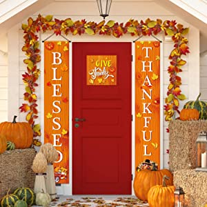 Blessed Thankful Hanging Banner Fall Harvest Welcome Banner Porch Sign Autumn Pumpkin Maple Leaf Backdrop Flag for Home Yard Indoor Outdoor Thanksgiving Party Decorations