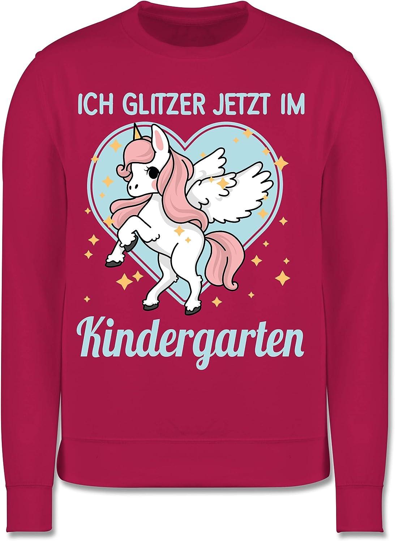 Kinder Pullover Einhorn mit Herz Ich Glitzer jetzt im Kindergarten Shirtracer Kindergarten