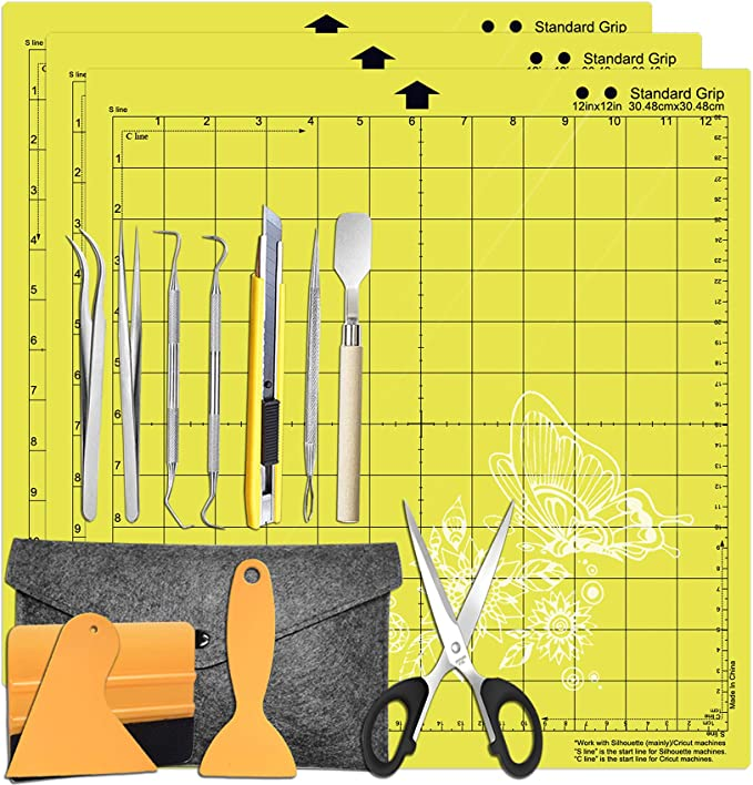 "Amazon.com: HIRALIY Weeding Tools for Vinyl Weeding Kits Plus StandardGrip Cutting mat 12x12"" 3 Pack Compatible with Cricut, Silhouette Accessories"