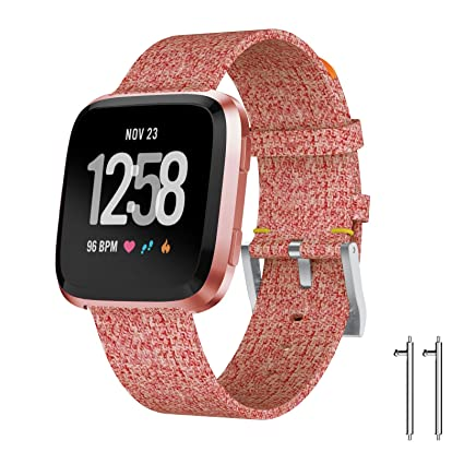 Fitbit Versa Woven Bands, Charcoal Woven Replacement Band for Fitbit Versa with Metal Buckle Fitness Wristband for Amazfit/Garmin Vivomove/Moto 360 2 ...