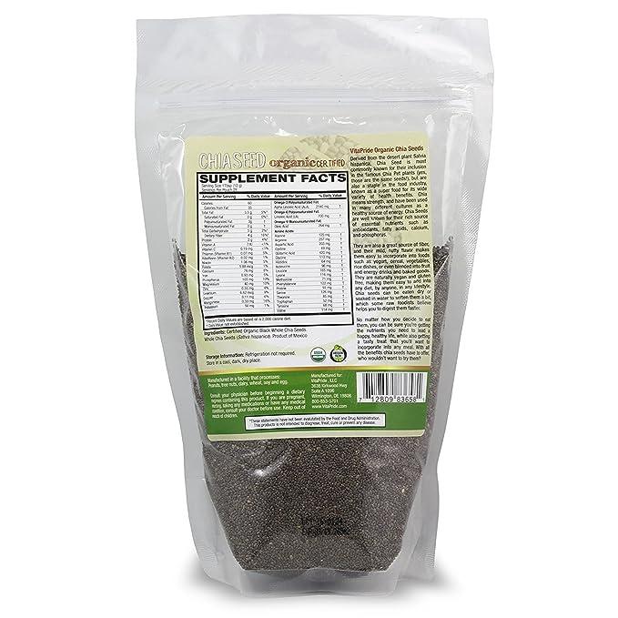 vitapride Finest Orgánica Chia semillas Raw Orgánica Negro ...
