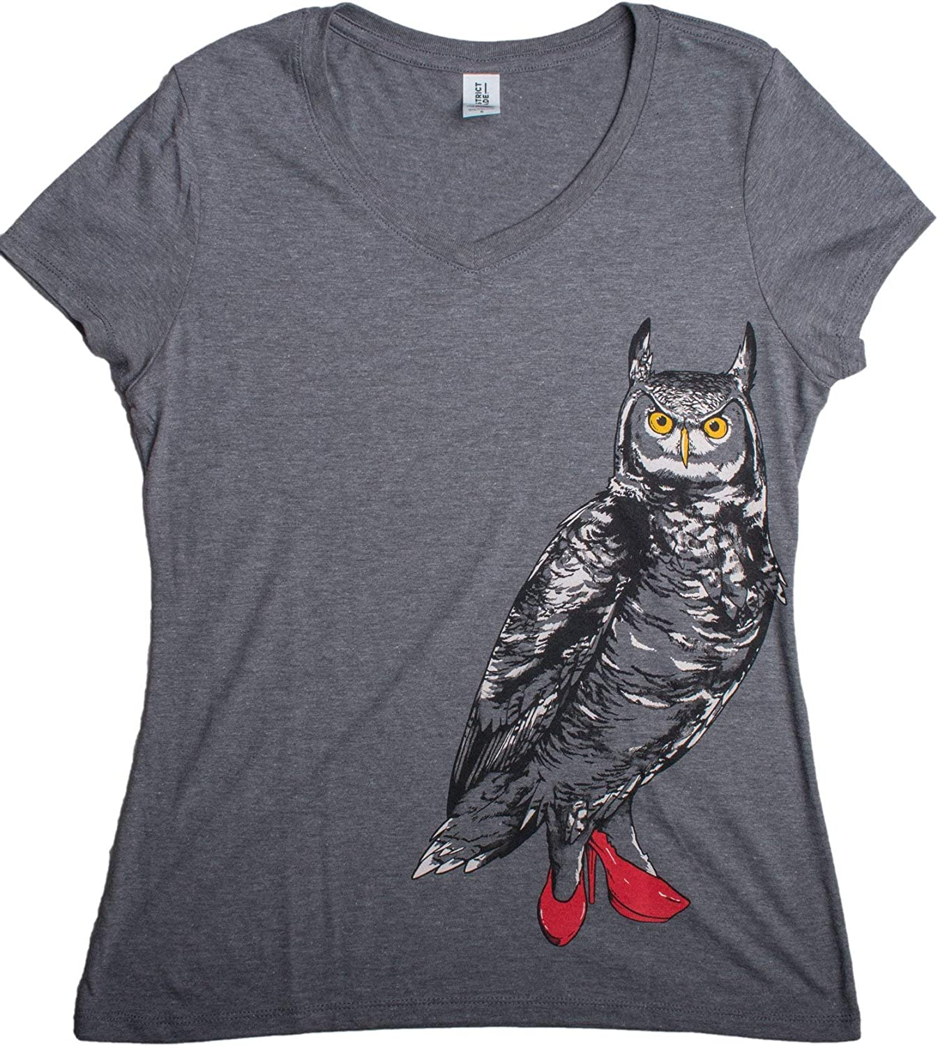Owl in Pumps | Cute Funny Bird Nature Shoe Humor Comfy V-Neck T-Shirt for Women