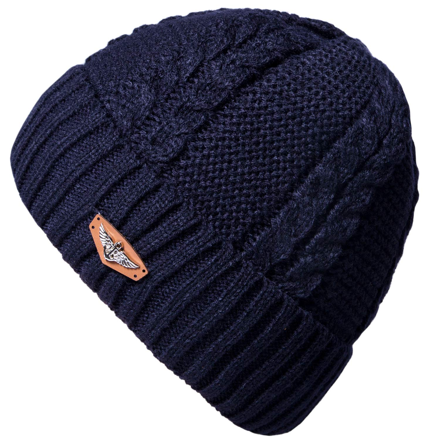 Loritta Men's Winter Warm Knitted Hat Thick Twisted Cap Fleece Slouchy Beanie Skully Hat ACS-132-5