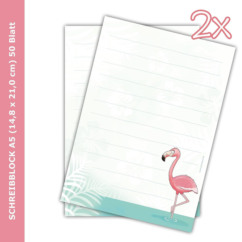 '2x Bloc-notes Flamingo DIN A5ligné 50feuilles/bloc pour lettres, fille, papier à lettres enfants, emufarm