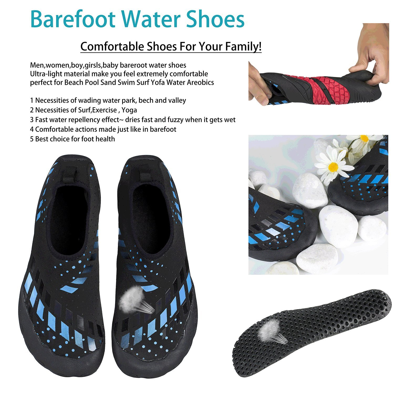 Water Shoes Quick Dry Aqua Water Shoes Beach Walking Swming Yoga Exercise by Youweb (Image #6)