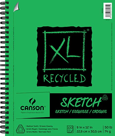 9X12 Side Wire Canson XL Series Black Drawing Pad