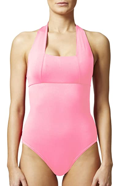 3d57e573fce TLC Sport Women's Tummy Control Slimming Shaping Halter Swimsuit/Swimming  Costume Pink