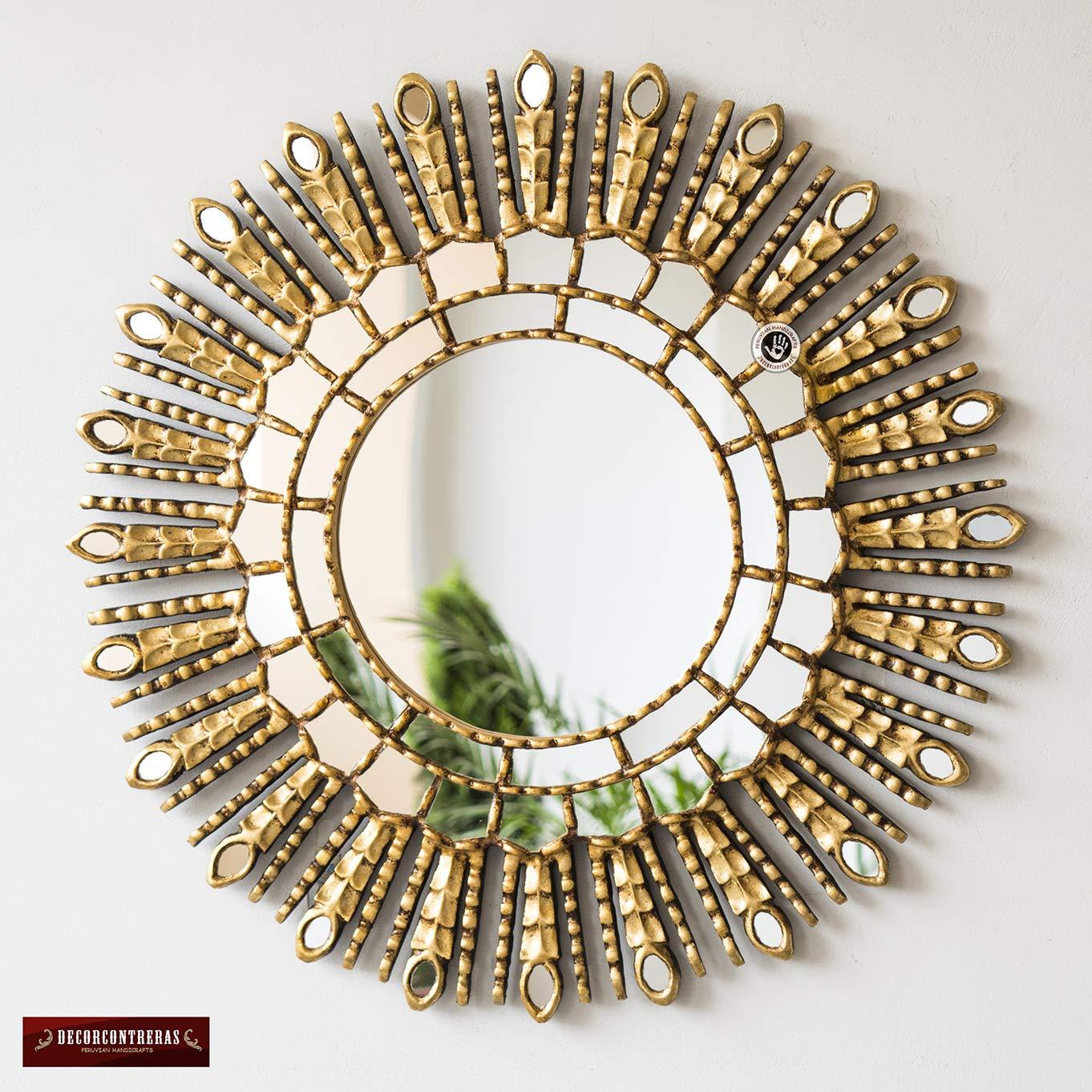 Peruvian Wall Mounted Mirror,Gold princess sun Handmade Startbust Wood Mirror for living room Gold Sunburst Mirror 23.6in