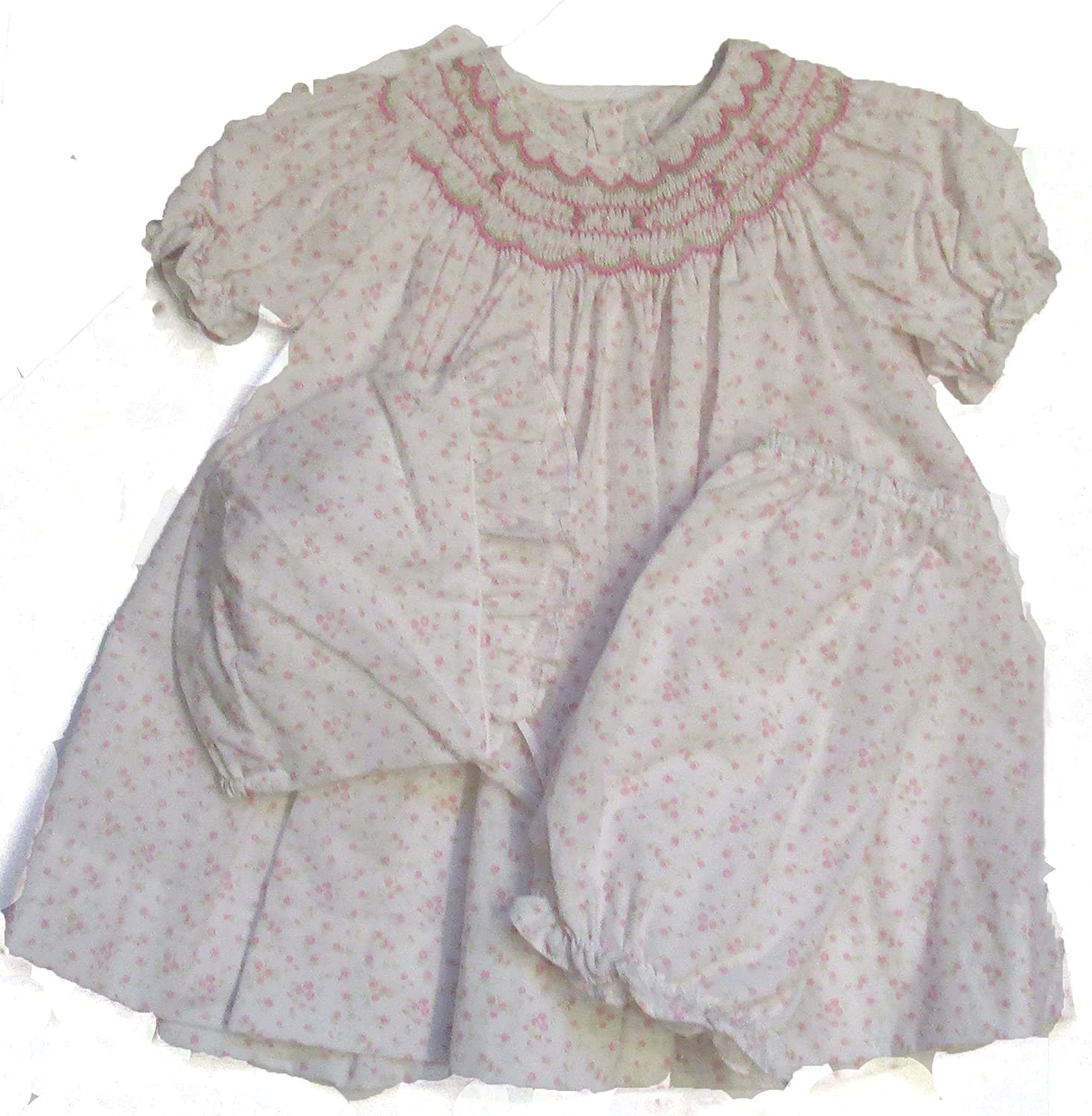 1068 Petit Ami Smocked Pink /& White Dress w//Matching Hat and Diaper Cover