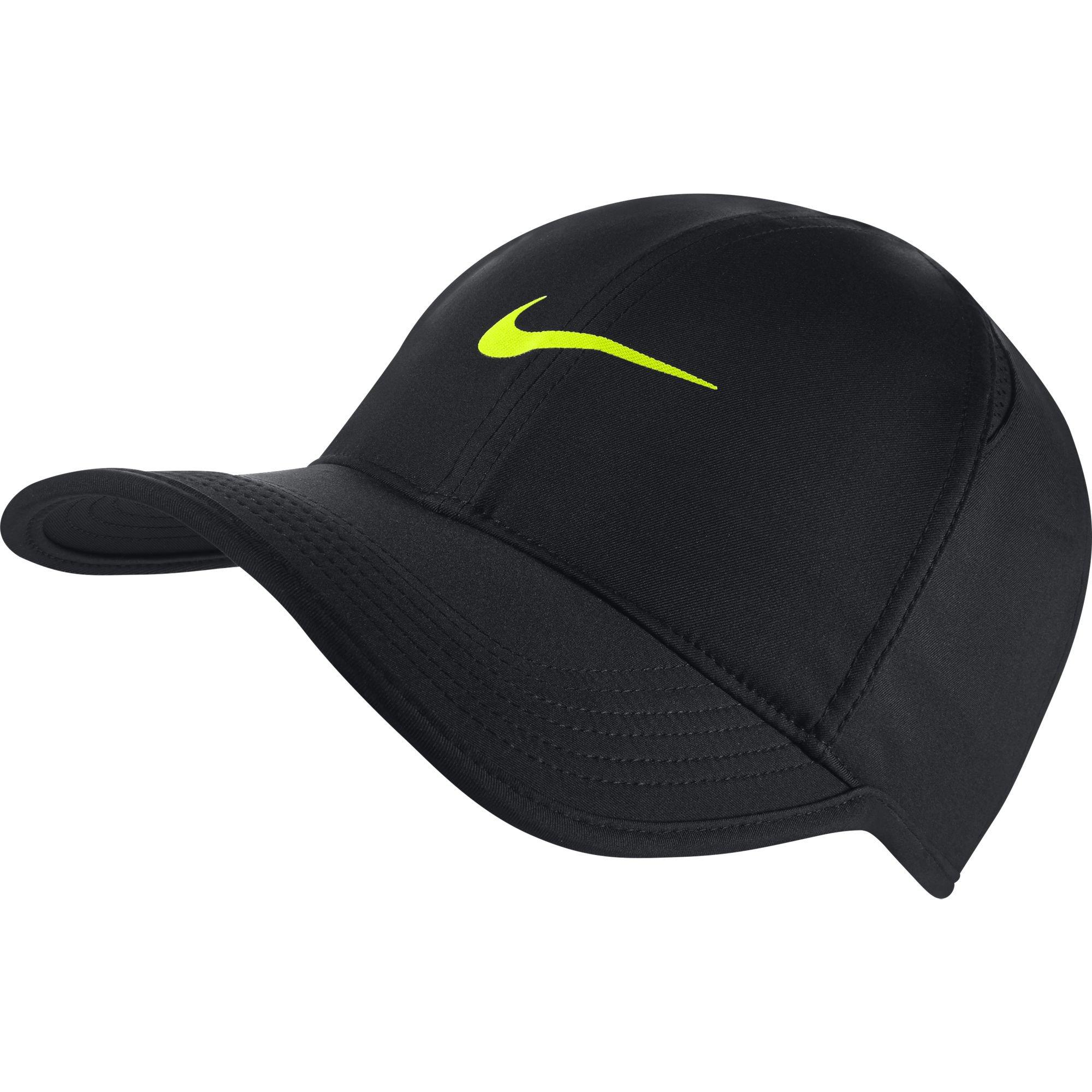 NIKE Feather Light Tennis Hat (BLACK/BLACK/VOLT, One Size)