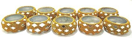 Artshai Set Of 10 Decorative Handcrafted Golden Diya Tealight Candle Holder
