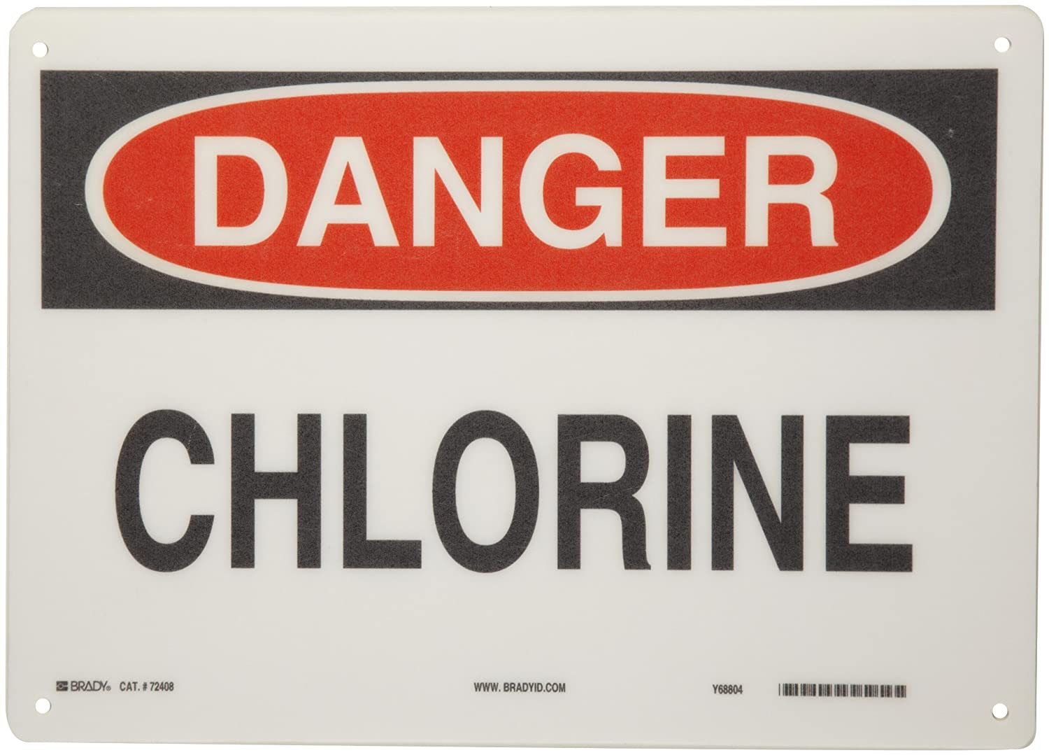 Legend Chlorine Header Danger Legend Chlorine Header Danger Brady 84356 14 Width x 10 Height B-302 Polyester Black and Red on White Chemical and Hazardous Materials Sign