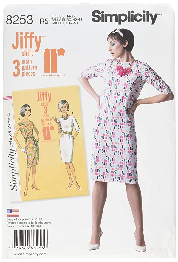 1960s – 70s Sewing Patterns- Dresses, Tops, Pants, Mens Simplicity Vintage Sewing Template 8253 1960s Shift Dress Sewing Pattern 2 Styles Sizes 14-22 $8.95 AT vintagedancer.com