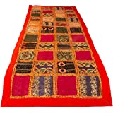 """Tribe Azure Fair Trade Orange Table Runner Cotton 18"""" x 58"""" Hand Embroidered Boho Bohemian Colorful Patchwork Modern…"""