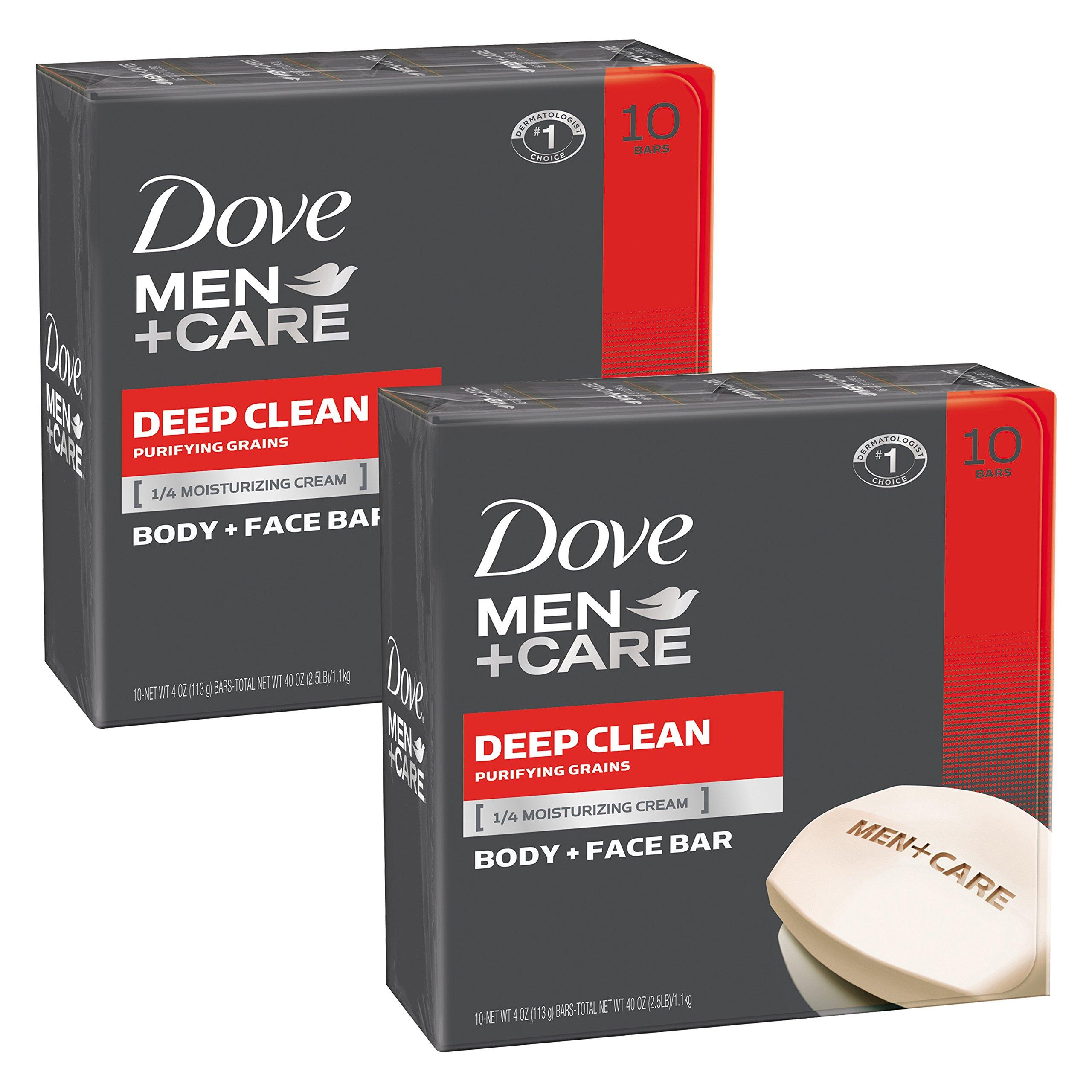 Dove Men+Care Body and Face Bar, Deep Clean, 4 Ounce, 20 Bar