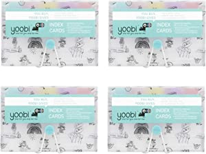 Yoobi Index Cards with Case | 4 Pack of Fun | 400 Total Notecards with Holder | Create Flash Cards for Homeschool