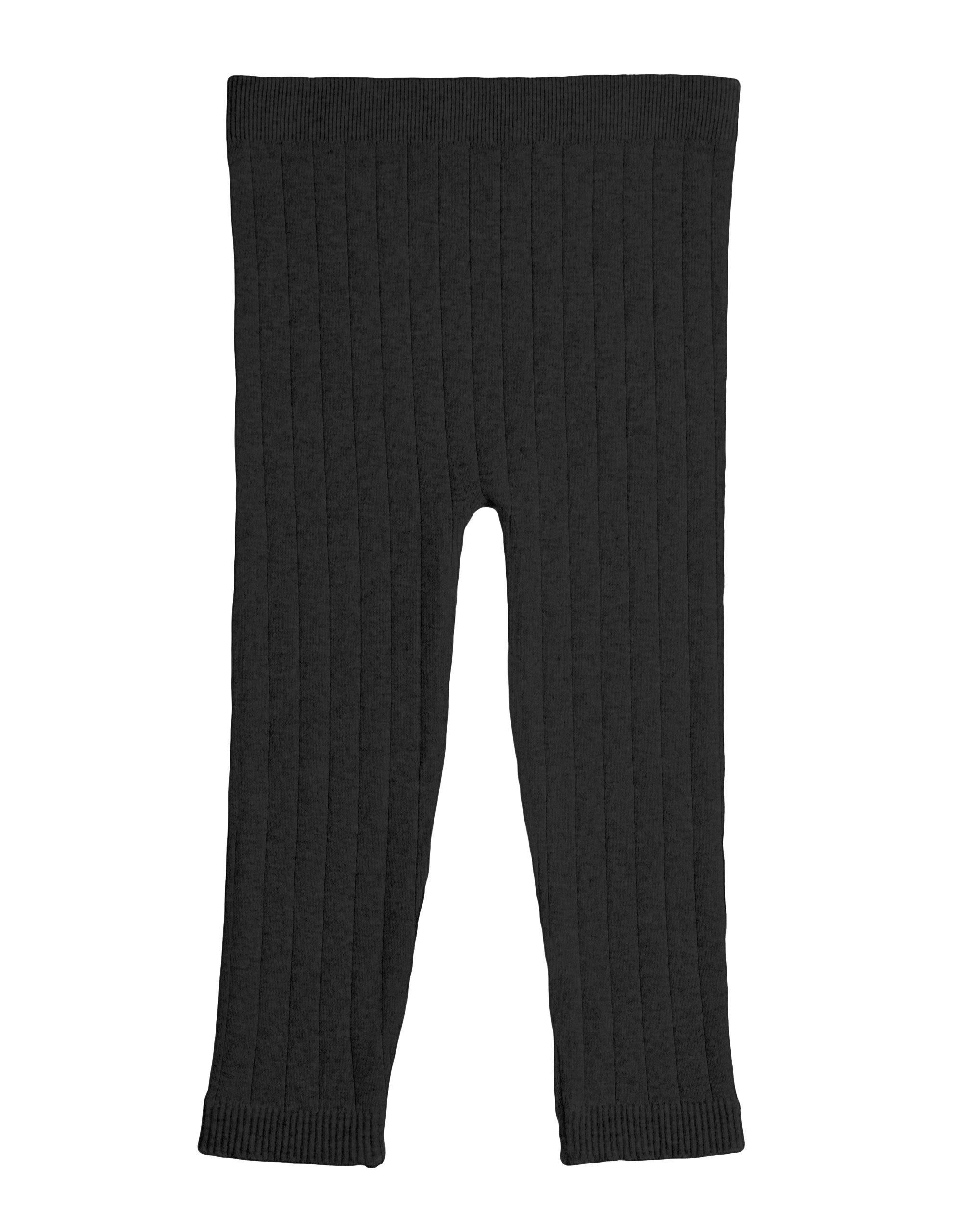 EMEM Apparel Unisex Boys Girls Baby Toddler Medium Weight Seamless Full Ankle Length Ribbed Cotton Leggings Black 2T-4T