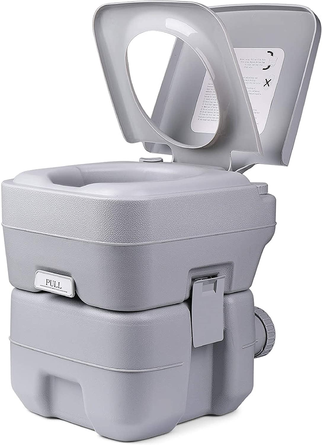 Flexzion Outdoor Portable Toilet - Travel Mobile Toilet Potty Seat w/ Large 5.3 Gal Water Tank & 3 Gal Waste Holding Tank, 3-Way Flush, Cover and for Camping Hiking RV Travel Boat Outdoors Hiking Trip