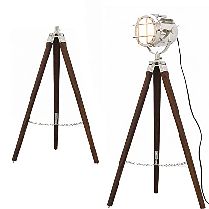 Hollywood Style Studio Floor Lamp Decorative Tripod Spotlight Nickel