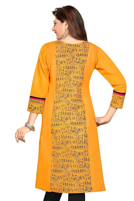 Indian Tunic Top Women's Long Printed Cotton Kurti