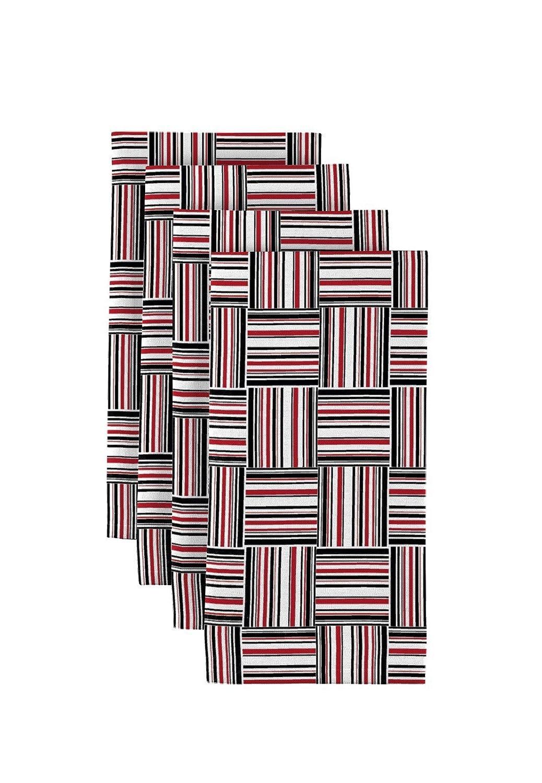 ブラック&レッドバスケット織りDinner Napkins – 12のセット   B078XJ6CCD
