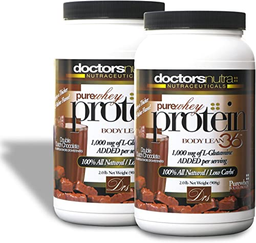 Pack of 2 Pure 100 Percent 2 lb – Undenatured Grass Fed Whey Protein by Doctors Nutra Nutraceuticals, Double Dutch Chocolate Flavor, Natural Ultrafiltered Plus 1000 Milligrams L-Glutamine