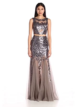 Jovani Women's Charcoal Sequin Prom Dress, 10 at Amazon