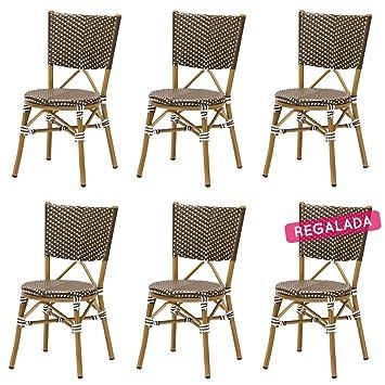 lot 6 chaises bistrot rene alu et polyrotin marron rotin design garden - Chaise Bistrot Rotin