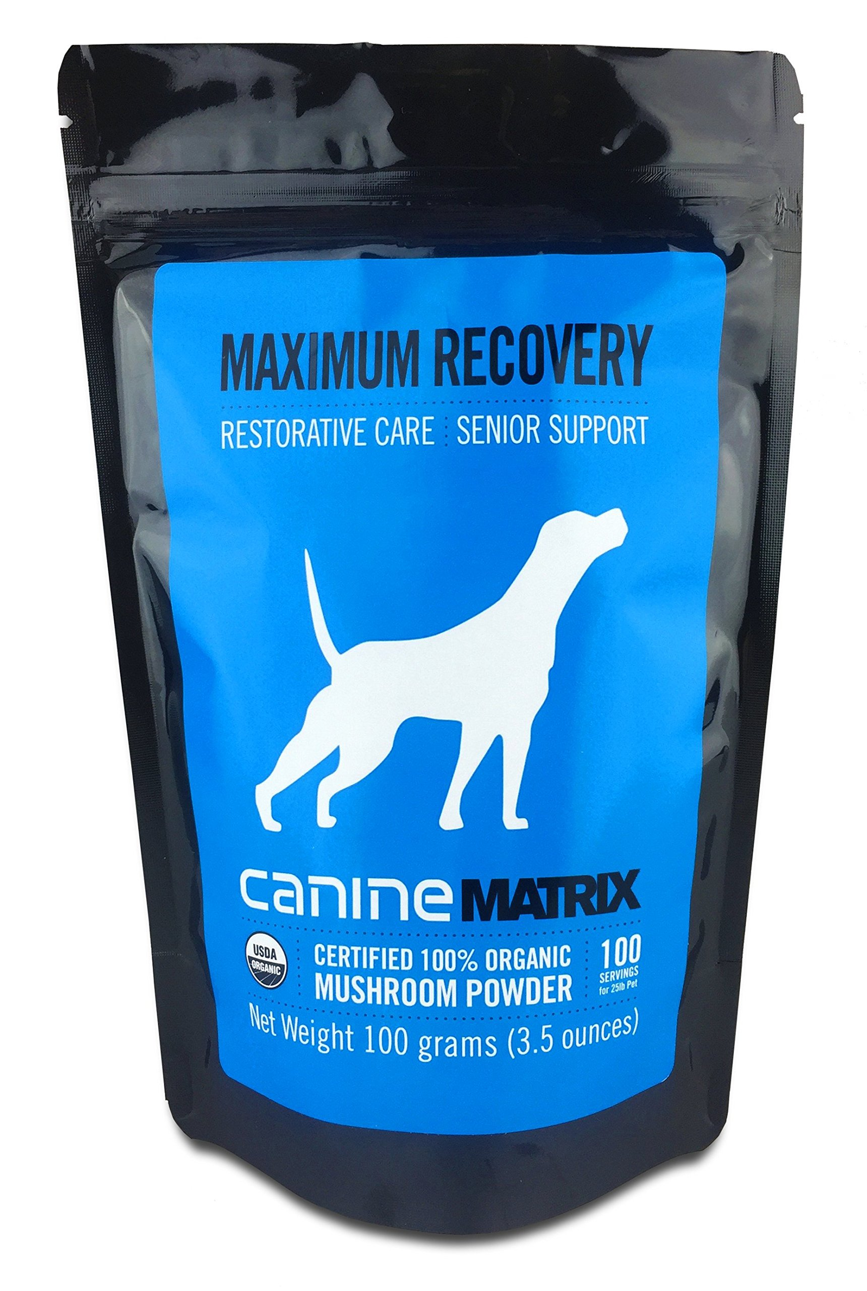 Canine Matrix Organic Mushroom Supplement for Dogs and Cats, Maximum Recovery: Restorative Care, Senior Support, 100 Servings, 3.5oz, 100 Grams