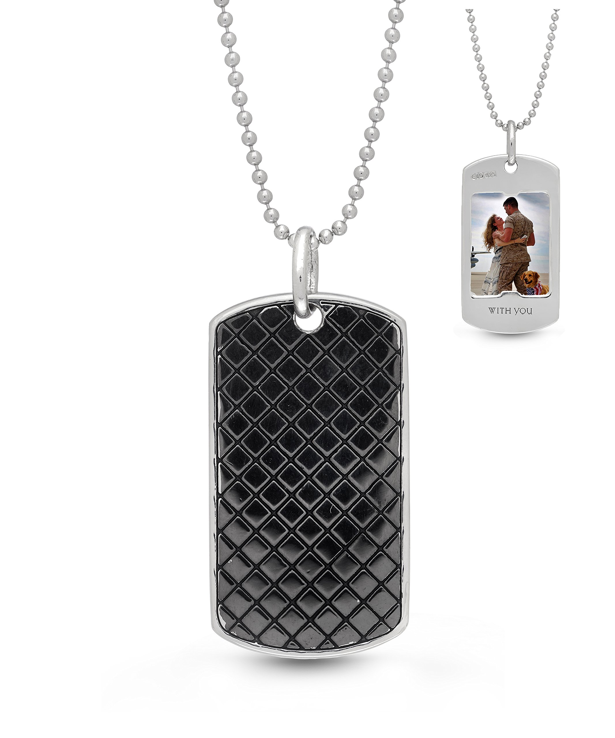 With You Lockets-Sterling Silver-Custom Photo Locket Necklace-Dog Tag-That Holds Pictures For Men-The Walter