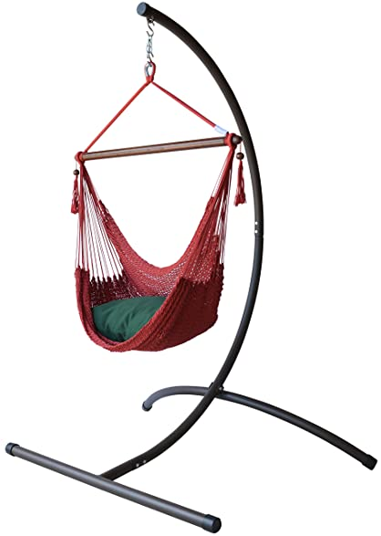 Great Caribbean Hammock Chair With Footrest   40 Inch   C Stand (Red)