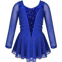 YOOJIA Niñas Vestido de Patinaje Artístico Vestido de Danza Ballet Manga Larga Vestido de Malla con Lentejuelas…