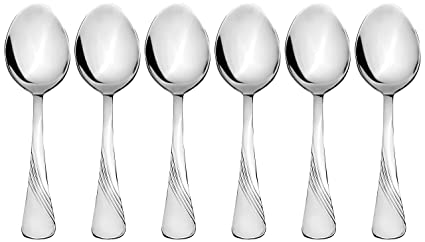 Amazon Brand - Solimo 6 Piece Stainless Steel Table Spoon Set, Waves