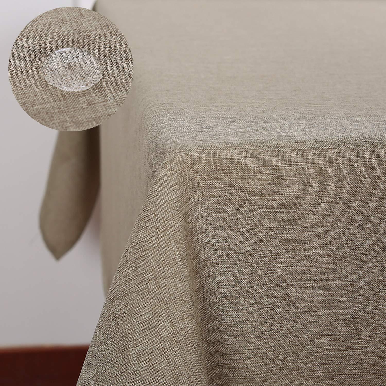 Deconovo Tovaglia Impermeabile Antimacchia in Tessuto Aspetto Lino Rettangolare per Tavola 130x130 CM Bianco