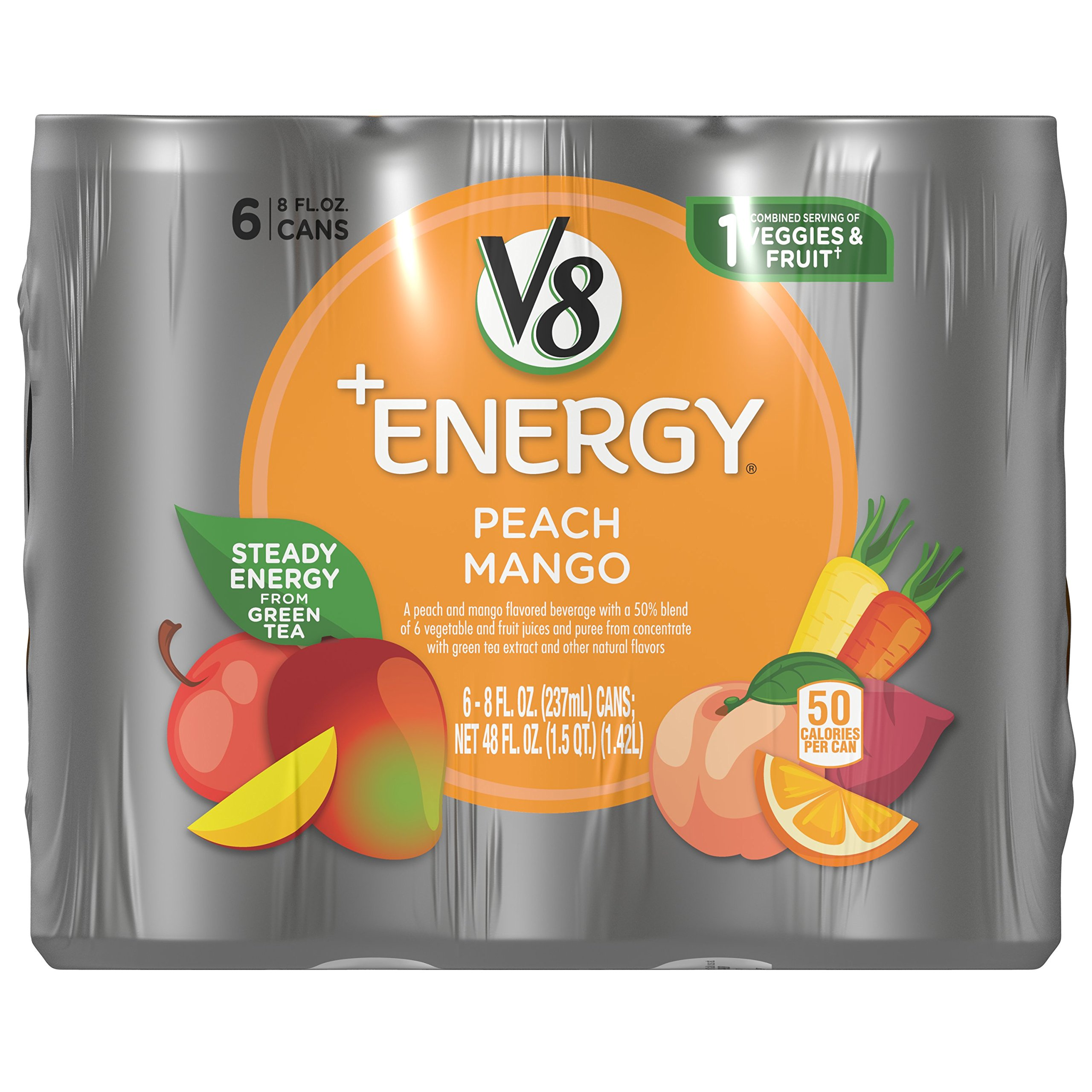 V8 +Energy, Peach Mango, 8 Ounce, 6 Count (Pack of 4) (Packaging May Vary)