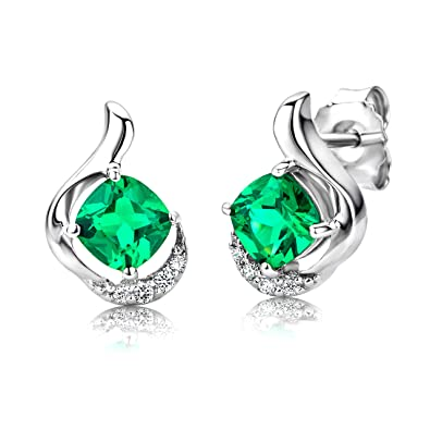 ByJoy Earrings for Women Sterling Silver Emerald with Cubic zirconia brilliant cut 925 Silver 6ffcYwis91