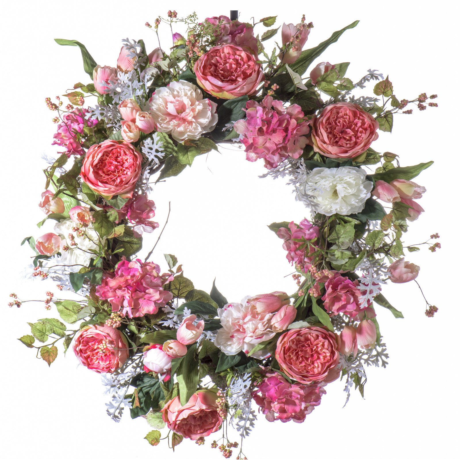 Pink Cabbage Rose Silk Wreath - Use as Spring Wreath, Summer Wreath or Everday Wreath (26 inch) by Darby Creek Trading