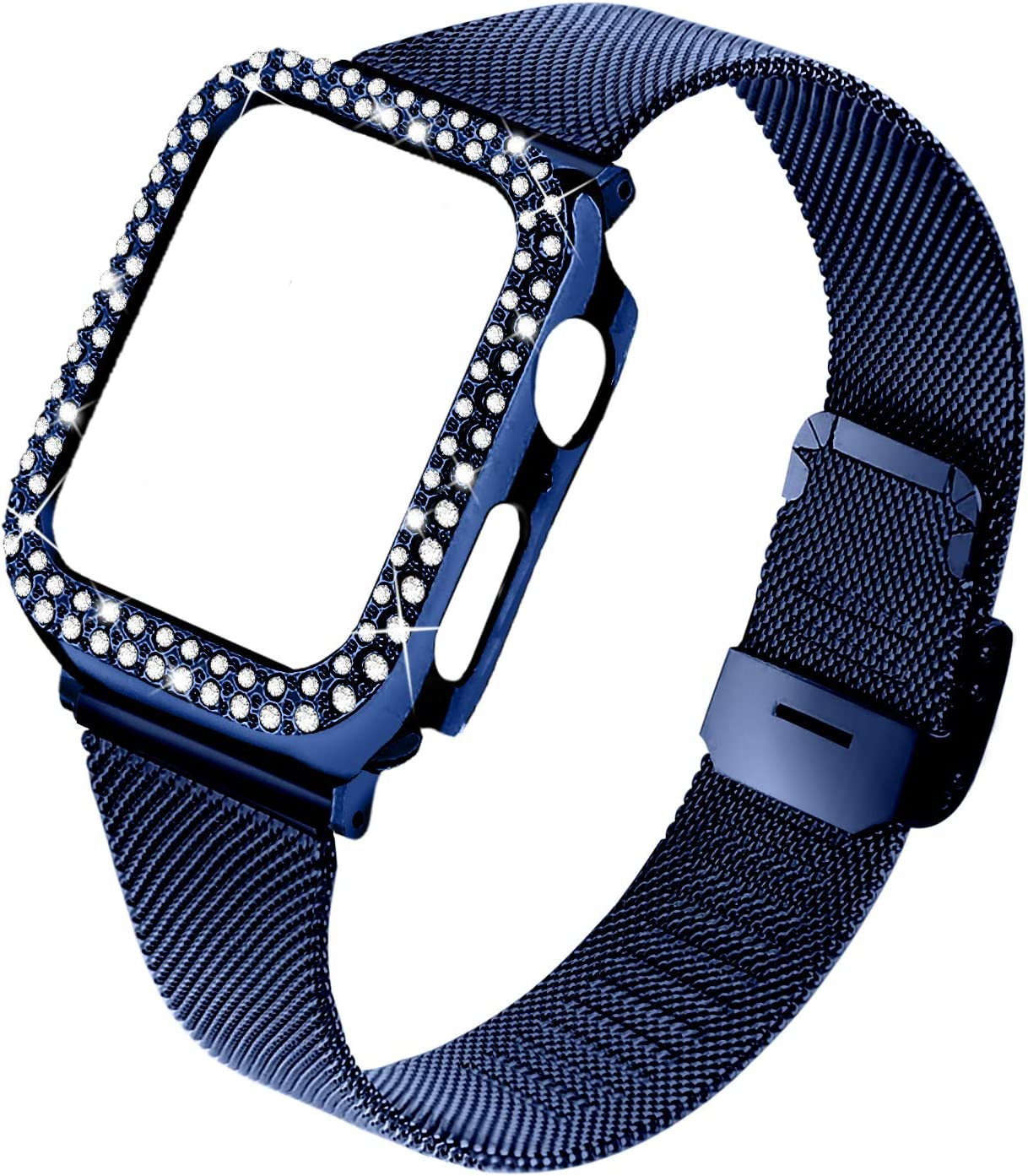 Joyozy Stainless Steel Mesh bands Compatible For Apple Watch 44mm,Women Bling Protective Crystal Diamond Case with Loop Mesh Strap For Iwatch Series 6/SE/5/4(No Tool Needed) (Blue, 44MM)