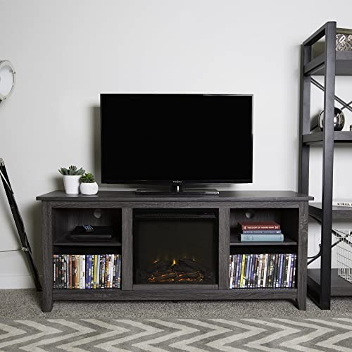 Home Accent Furnishings Lucas 58 Inch Television Stand with Fireplace Insert in Charcoal